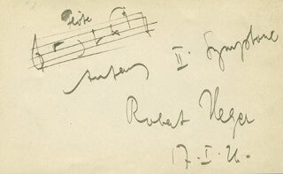 ROBERT HEGER - AUTOGRAPH MUSICAL QUOTATION SIGNED 01/17/1921