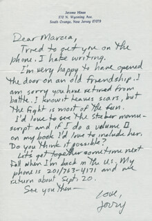 JEROME HINES - AUTOGRAPH LETTER SIGNED