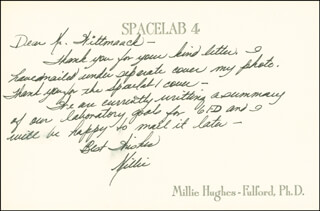 MILLIE HUGHES-FULFORD - AUTOGRAPH LETTER SIGNED