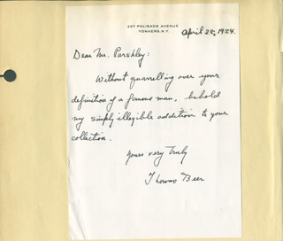 THOMAS BEER - AUTOGRAPH LETTER SIGNED 04/28/1924