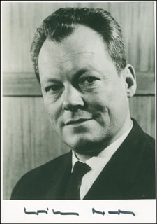 CHANCELLOR WILLY BRANDT (GERMANY) - AUTOGRAPHED SIGNED PHOTOGRAPH  - HFSID 297869