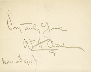 WILLIAM H. CRANE - AUTOGRAPH SENTIMENT SIGNED 03/10/1894
