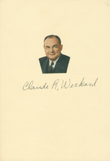 Autographs: CLAUDE R. WICKARD - PRINTED PHOTOGRAPH SIGNED IN INK