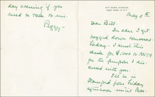 PEGGY WOOD - AUTOGRAPH LETTER SIGNED 05/05
