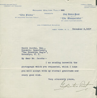 GUY BATES POST - TYPED LETTER SIGNED 11/02/1917