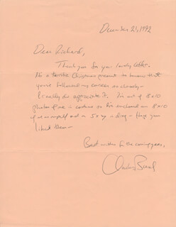 CHARLES BUSCH - AUTOGRAPH LETTER SIGNED 12/21/1992