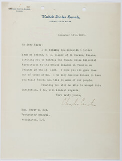 VICE PRESIDENT CHARLES CURTIS - TYPED LETTER SIGNED 11/15/1923