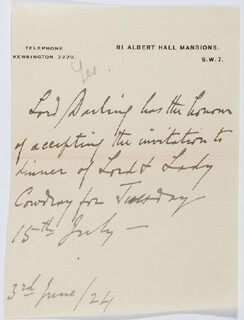 LORD CHARLES DARLING - THIRD PERSON AUTOGRAPH LETTER 06/03/1924