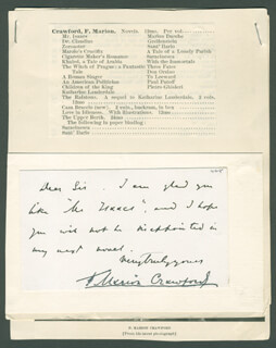 F. MARION CRAWFORD - AUTOGRAPH NOTE SIGNED