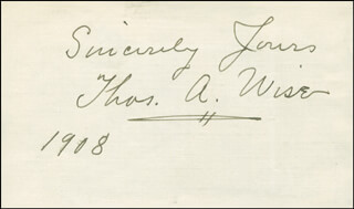 THOMAS A. WISE - AUTOGRAPH SENTIMENT SIGNED 1908