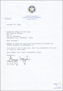 GOVERNOR GEORGE NIGH - TYPED LETTER SIGNED 10/20/1986
