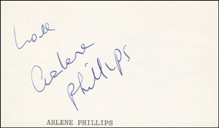ARLENE PHILLIPS - AUTOGRAPH SENTIMENT SIGNED