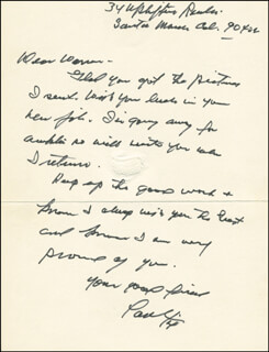 PAUL FIX - AUTOGRAPH LETTER SIGNED