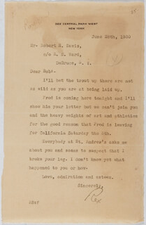 Autographs: REX BEACH - TYPED LETTER SIGNED 06/28/1930