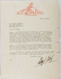 Autographs: PERCY CROSBY - TYPED LETTER SIGNED 05/19/1933
