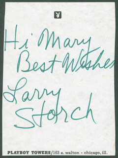 LARRY STORCH - AUTOGRAPH NOTE SIGNED