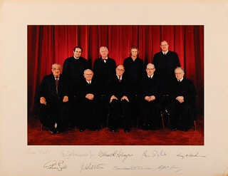 THE WILLIAM H. REHNQUIST COURT - PHOTOGRAPH MOUNT SIGNED CO-SIGNED BY: ASSOCIATE JUSTICE BYRON R. WHITE, ASSOCIATE JUSTICE ANTHONY M. KENNEDY, ASSOCIATE JUSTICE ANTONIN SCALIA, ASSOCIATE JUSTICE SANDRA DAY O'CONNOR, ASSOCIATE JUSTICE WILLIAM J. BRENNAN JR., ASSOCIATE JUSTICE THURGOOD MARSHALL, CHIEF JUSTICE WILLIAM H. REHNQUIST, ASSOCIATE JUSTICE HARRY A. BLACKMUN, ASSOCIATE JUSTICE JOHN PAUL STEVENS