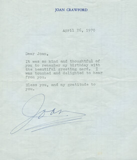 JOAN CRAWFORD - TYPED LETTER SIGNED 04/26/1970