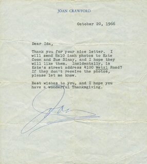 JOAN CRAWFORD - TYPED LETTER SIGNED 10/20/1966