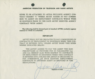 JOAN CRAWFORD - DOCUMENT SIGNED