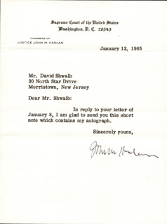 ASSOCIATE JUSTICE JOHN M. HARLAN JR. - TYPED LETTER SIGNED 01/12/1965