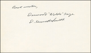 DARWOOD WALDO KAYE - AUTOGRAPH SENTIMENT SIGNED