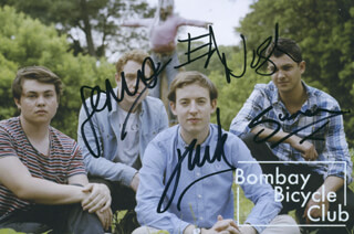 BOMBAY BICYCLE CLUB - AUTOGRAPHED SIGNED PHOTOGRAPH CO-SIGNED BY: BOMBAY BICYCLE CLUB (JACK STEADMAN), BOMBAY BICYCLE CLUB (JAMIE MACCOLL), BOMBAY BICYCLE CLUB (SUREN DE SARAM), BOMBAY BICYCLE CLUB (ED NASH)