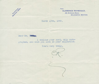 CLARENCE RAYBOULD - TYPED LETTER SIGNED 03/13/1949