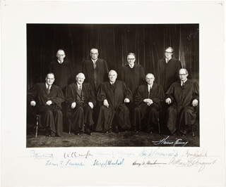 THE WARREN E. BURGER COURT - AUTOGRAPHED SIGNED PHOTOGRAPH CO-SIGNED BY: ASSOCIATE JUSTICE BYRON R. WHITE, CHIEF JUSTICE WARREN E. BURGER, ASSOCIATE JUSTICE LEWIS F. POWELL JR., ASSOCIATE JUSTICE WILLIAM O. DOUGLAS, ASSOCIATE JUSTICE POTTER STEWART, ASSOCIATE JUSTICE WILLIAM J. BRENNAN JR., ASSOCIATE JUSTICE THURGOOD MARSHALL, CHIEF JUSTICE WILLIAM H. REHNQUIST, ASSOCIATE JUSTICE HARRY A. BLACKMUN