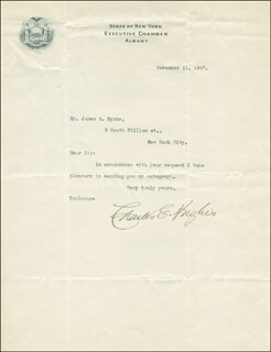 CHIEF JUSTICE CHARLES E HUGHES - TYPED LETTER SIGNED 11/11/1907