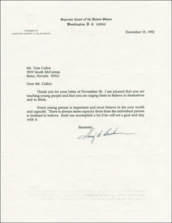 Autographs: ASSOCIATE JUSTICE HARRY A. BLACKMUN - TYPED LETTER SIGNED 12/15/1992