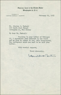 Autographs: ASSOCIATE JUSTICE HAROLD H. BURTON - TYPED LETTER SIGNED 02/21/1955