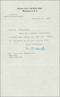 Autographs: ASSOCIATE JUSTICE WILLIAM O. DOUGLAS - TYPED LETTER SIGNED 02/15/1954