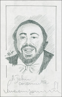 JOHN RAITT - INSCRIBED ORIGINAL ART SIGNED CO-SIGNED BY: LUCIANO PAVAROTTI