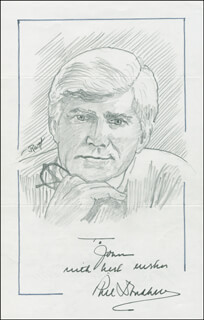 Autographs: PHIL DONAHUE - INSCRIBED ORIGINAL ART SIGNED CO-SIGNED BY: JOHN RAITT