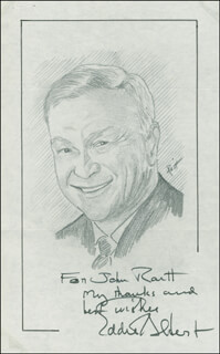 Autographs: EDDIE ALBERT - INSCRIBED ORIGINAL ART SIGNED CO-SIGNED BY: JOHN RAITT