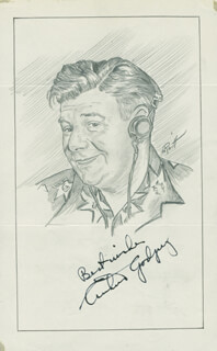 Autographs: ARTHUR GODFREY - ORIGINAL ART SIGNED CO-SIGNED BY: JOHN RAITT