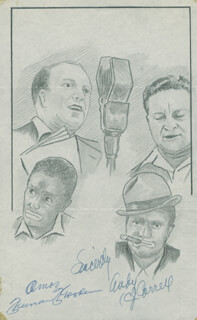 JOHN RAITT - ORIGINAL ART SIGNED CO-SIGNED BY: CHARLES ANDY CORRELL, FREEMAN AMOS GOSDEN, THE AMOS 'N' ANDY RADIO CAST