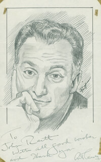 Autographs: ART CARNEY - INSCRIBED ORIGINAL ART SIGNED CO-SIGNED BY: JOHN RAITT