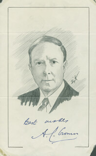 Autographs: A.J. CRONIN - ORIGINAL ART SIGNED CO-SIGNED BY: JOHN RAITT