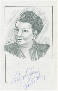 Autographs: PEARL BAILEY - INSCRIBED ORIGINAL ART SIGNED CO-SIGNED BY: JOHN RAITT