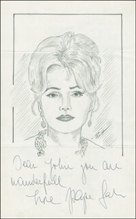 Autographs: ZSA ZSA GABOR - INSCRIBED ORIGINAL ART SIGNED CO-SIGNED BY: JOHN RAITT
