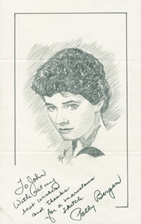 Autographs: POLLY BERGEN - INSCRIBED ORIGINAL ART SIGNED CO-SIGNED BY: JOHN RAITT