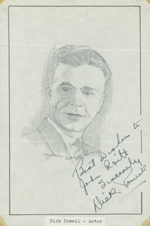 JOHN RAITT - INSCRIBED ORIGINAL ART SIGNED CO-SIGNED BY: DICK POWELL