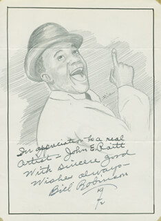 JOHN RAITT - INSCRIBED ORIGINAL ART SIGNED 1942 CO-SIGNED BY: BILL BOJANGLES ROBINSON