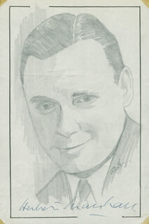 Autographs: HERBERT MARSHALL - ORIGINAL ART SIGNED CO-SIGNED BY: JOHN RAITT
