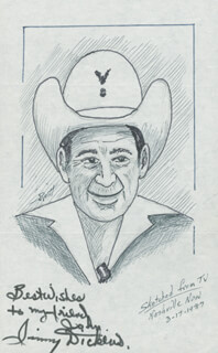 Autographs: JIMMY LITTLE JIMMY DICKENS - INSCRIBED ORIGINAL ART SIGNED CO-SIGNED BY: JOHN RAITT