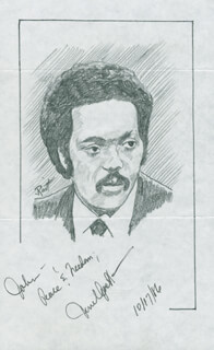 Autographs: JESSE L. JACKSON - INSCRIBED ORIGINAL ART SIGNED 10/17/1986 CO-SIGNED BY: JOHN RAITT