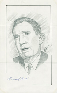 Autographs: RAMSEY CLARK - ORIGINAL ART SIGNED CO-SIGNED BY: JOHN RAITT