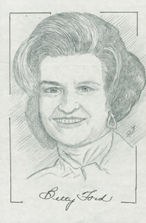 Autographs: FIRST LADY BETTY FORD - ORIGINAL ART SIGNED CO-SIGNED BY: JOHN RAITT